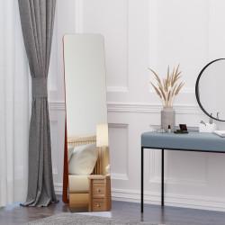 HOMCOM Espelho de pé de Corpo Inteiro Retangular Espelho de Parede com 2 Formas de Uso Estrutura de Madeira de Pinho para Dormitórios Sala de Estar Corredor 37x43x156cm Nogueira
