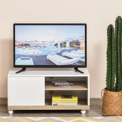 HOMCOM Gabinete de TV Mesa de sala de estar moderna para TV de 42 polegadas com 4 rodas prateleira ajustável 80x45x39.5 cm Branco