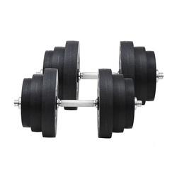 HomCom Jogo de Halteres Pesos de Fitness 40KG Ajustável Profissionais Ginásio Doméstico e Musculação com Barra Aço e Discos