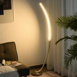 HOMCOM lâmpada terrestre Base metálica e pedal Elegante forma de curva luz amarela LED 50x 23x 149cm