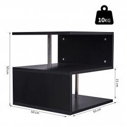 HOMCOM Mesa de centro de sala de jantar de forma S com 2 Níveis Abertos Elegante 50x50x50 cm Preto