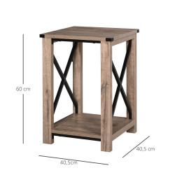 HOMCOM Mesa lateral de café estilo colonial com prateleira de armazenamento barra de aço X 40,5 x 40,5 x 60 cm