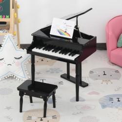 HOMCOM Mini piano infantil com banco 30 teclas com suporte para partitura 52x50x49 cm preto