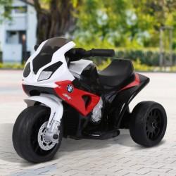 HOMCOM Mota Elétrica BMW Triciclo Trimota Infantil 6V Motobicicleta para Crianças 18-36 Meses com Luzes e Música 66x37x44 cm