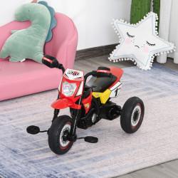 HOMCOM Moto infantil para crianças acima de 18 meses com 3 rodas Música e farol 71x40x51 cm Vermelho