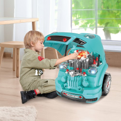 HOMCOM Motor de Caminhão para Crianças acima de 3 Anos Conjunto de Motor de Brinquedo com 61 Peças Volante Buzina Faróis Caixa de Armazenamento e Rodas 40x39x47cm Turquesa
