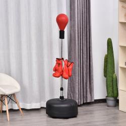 HOMCOM Pêra de boxe com suporte Altura regulável 48x136-154cm Vermelho