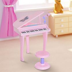 HomCom Piano infantil 37 Teclas com Microfone Banquinho Luzes e 22 Canções USB/MP3