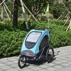HOMCOM Reboque de criança 3 em 1 de 2 lugares para crianças acima de 6 meses Dobrável com barra rodas giratórias e guiador ajustável 150x85x107cm Azul