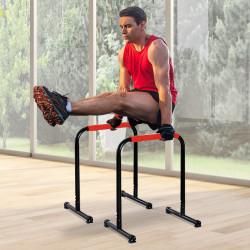 HOMCOM Suporte de treino de barras paralelas para flexões inclinadas construção muscular Calistênicos 63x41x73 cm Preto