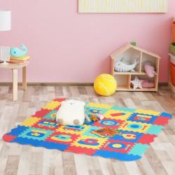 HOMCOM Tapete Puzzle para Crianças 150x150cm com 36 Peças de Espuma EVA Suave Área de 1,44m² Tapete Quebra Cabeças para Bebé Multicor