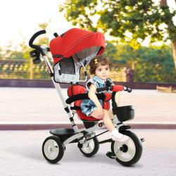 HOMCOM Triciclo de Bebé acima de 18 meses Dobrável 4 em 1Evolutivo Assento Giratório Capota Barra Desmontável Controlo Parental