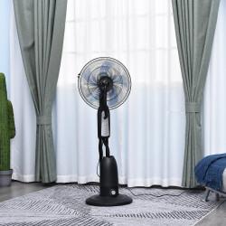 HOMCOM Ventilador de pé com nebulizador de água oscilante e silencioso com 3 velocidades potência 90W Tanque 2,8 L Ø44,5x120 cm Preto