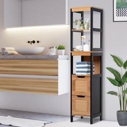Kleankin Armário de banheiro alto com prateleiras e gavetas 30x30x144.3 cm