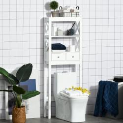 Kleankin Armário de banheiro com 3 prateleiras e 2 gavetas com dispositivo anti-queda 60x20x165 cm Branco