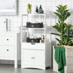 Kleankin Armário para Banheiro com 3 Prateleiras Gaveta e 2 Portas Móvel de Armazenamento para Cozinha, Sala de estar Dormitório 60x33x122,5cm Branco