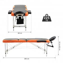 Marquesa Dobrável e Portátil para Fisioterapia - Preto e Laranja - PU e Estrutura de Alumínio – 185 x 60 cm