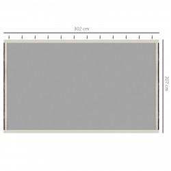 Outsunny 4 Painéis Laterais 302x207 cm para Tenda de Jardim Mosquiteira para Gazebo com Zíperes e Anéis Pretos
