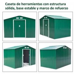 Outsunny Abrigo - Barracão Metálico Placa Verde 277x191x192cm