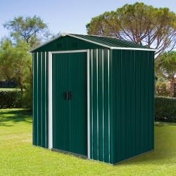 Outsunny Abrigo de jardim 2,2 m² Abrigo de armazenamento de ferramentas de aço galvanizado com porta deslizante 194x110x184 cm Verde