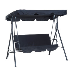 Outsunny Balanço do jardim Tipo cadeira de balanço de Metal 3 Assentos com Toldo Ajustável e Almofada - 172x110x152cm