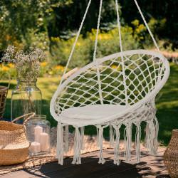 Outsunny Cadeira suspensa redonda Ø60 cm de rede de balanço com almofada e corda de algodão para interior e exterior 80x80x42 cm bege