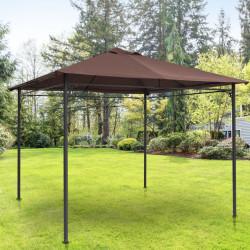 Outsunny Cobertura de substituição de 3 x 3 m para barraca de jardim gazebo ao ar livre com 8 orifícios de drenagem e ventilação marrom