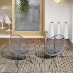 Outsunny Conjunto de 2 Cadeiras de Jardim acapulco de Vime Forma Oval com Apoia Braços Encosto Alto para Interior Exterior 73x77x87 cm Cinza