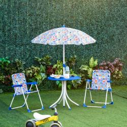 Outsunny Conjunto de mesa infantil Ø50x46 cm 2 cadeiras dobráveis 39x38x52 cm e guarda-sol ajustável Ø100x100-125 cm para crianças acima de 3 anos Azul