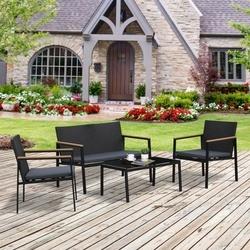 Outsunny Conjunto de sala de jardim formado por 4 peças nas cores preto e cinza