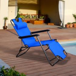 Outsunny Espreguiçadeira Reclinável e Dobrável de Jardim - Cor Azul - Tecido Oxford e Aço - 153 x 60 x 29 cm