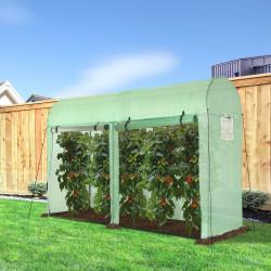 Outsunny Estufa Jardim Tipo Túnel com 4 janelas e 2 portas para Plantas de PE de aço 300x100x200 cm Verde