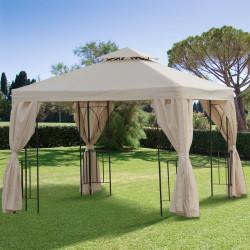 Outsunny Gazebo de jardim Pavilhão de 3 x 3 m com 4 cortinas laterais removíveis com zíper, 8 orifícios de drenagem e telhado duplo bege