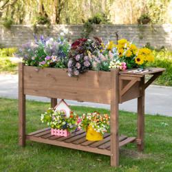 Outsunny Jardim urbano com prateleiras floreira de madeira maciça elevada Ervas 123x54x74 cm Castanho