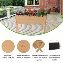 Outsunny Jardim urbano de madeira Mesa de cultivo para plantas com 4 orifícios de drenagem e tecido geotêxtil 100x70x80 cm