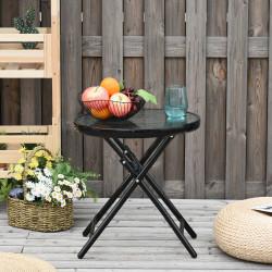 Outsunny Mesa dobrável redonda de vidro Mesa de jardim com fivela de segurança borda coberta de metal interno e externo Ø45x50 cm Preto