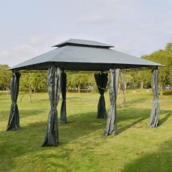 Outsunny Pérgola de jardim 3x4 m com estrutura de aço telhado duplo 6 cortinas laterais 8 orifícios de drenagem Boa ventilação para festas Eventos cinza