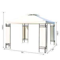 Pavilhão Outsunny Gazebo cor preta e creme Tecido de Aço e Poliéster 180g / m² - 3x3x2.65m