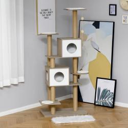 PawHut Árvore Arranhador de escalada para gatos Altura de 177 cm com Plataformas Cavernas Almofada macia brinquedo de suspensão Postes de juta Branco e cinza claro