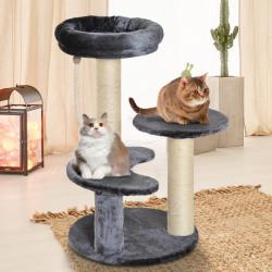 PawHut Árvore arranhador para Gatos com Cama de Pelúcia e Postes de Corda de Sisal Ф40x65cm