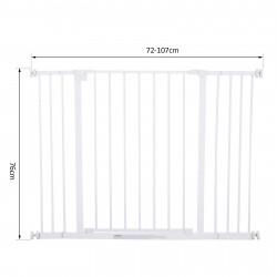 PawHut Barreira de Segurança Extensível Portas e escadas metálicas para cães e bebês Portas de Barreira Pet 72-107x76cm