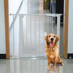 PawHut Barreira de Segurança Ferro Branco para Crianças / Cães / Gatos Separação de Segurança 74-95 x 70 cm