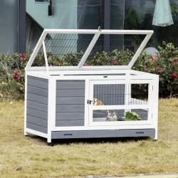 PawHut Coelheira de madeira para animais de estimação pequenos 2 andares com rampa rodas bandeja removível 102x60x63,5 cm cinza branco