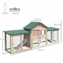 PawHut Gaiola ao exterior grande casa para pequenhos animais gaiola Coelhos 210x45.5x84.5 cm