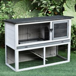 PawHut Gaiola de madeira para coelhos com rampa bandeja removível 2 andares e 2 portas 108x45x78 cm cinza