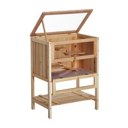 PawHut Gaiola de madeira para hamster com 5 plataformas, rampa dobrável, janela de plexiglass e prateleira inferior 60x40x80 cm