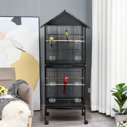 PawHut Grande gaiola de pássaros de 2 andares com rodas 8 alimentadores 4 poleiros e bandejas removíveis 71,5x72x170 cm Preto