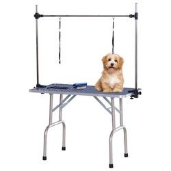PawHut Mesa da preparação do cão Exposição do animal de estimação Escovado 107x60x170cm