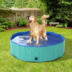 PawHut Piscina dobrável para cães animais de estimação PVC Antiderrapante Resistente ao desgaste Ø160x30cm turquesa