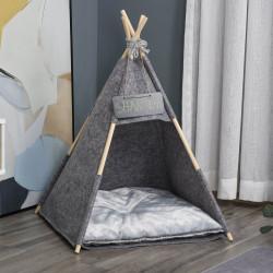 PawHut Tenda tipi para Animais de Estimação de Feltro com Almofada lavável e Removível 58x58x80cm Cinza